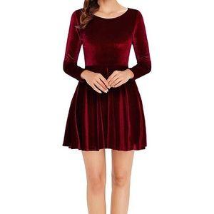 Dresses & Skirts - Red Velvet Long Sleeve Skater Dress